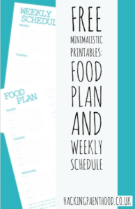 free minimalistic printable- Food Plan and weekly schedule