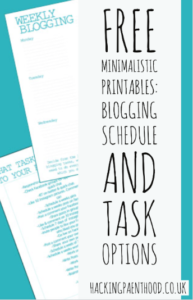 Free minimalistic printable - Blogging schedule and task options
